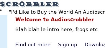 Screenshot: AudioScrobbler, French language UI