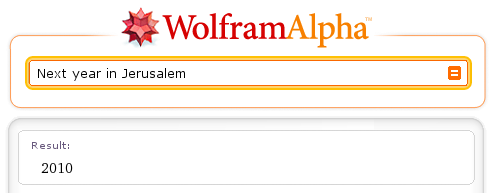 Screenshot: Wolfram Alpha 'Next year in Jerusalem' (Result: 2010)
